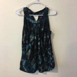 Silky tank blouse with overlay